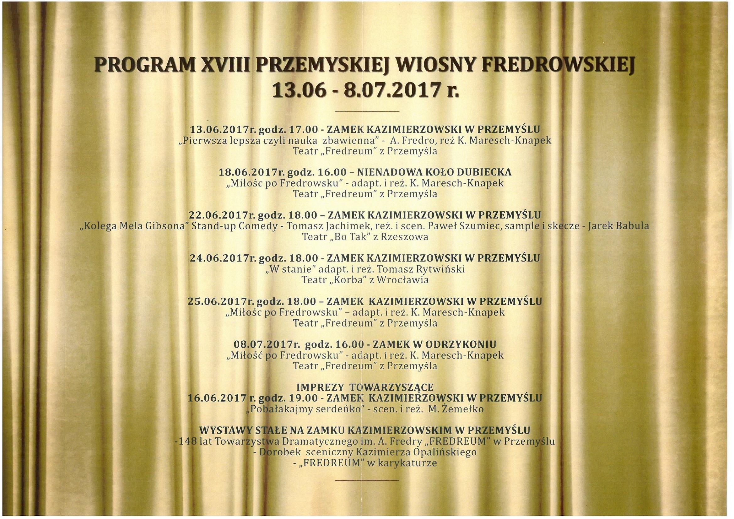 XVIII Przemyska Wiosna Fredrowska kalendarium